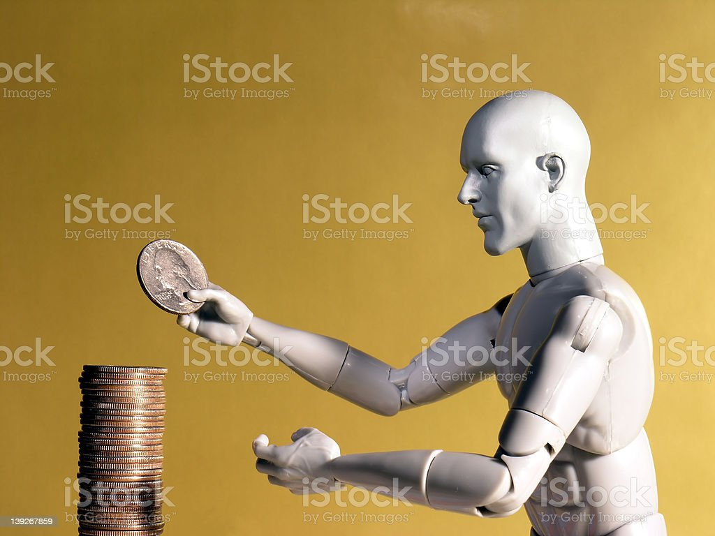 Mannequin Stacking Quarters royalty-free stock photo