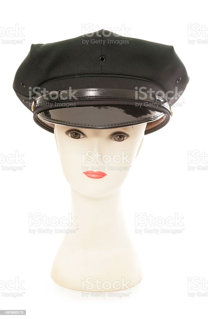 Mannequin wearing a chauffeurs hat stock photo