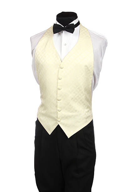 Mannequin with Black Bow Tie and Ivory Vest stock photo