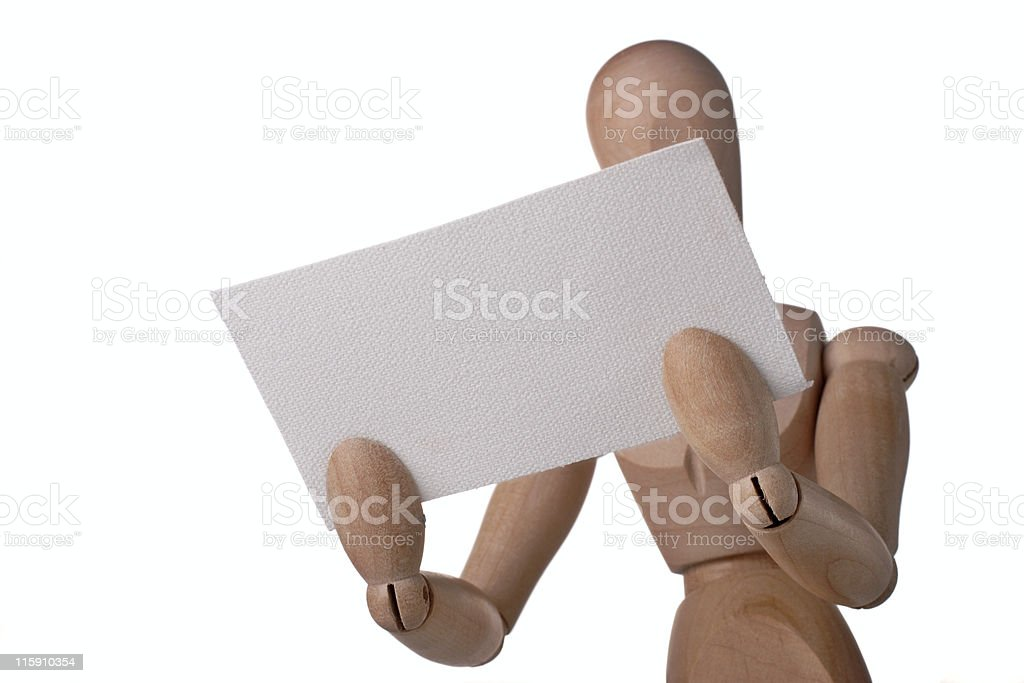 mannequin with blank card stock photo