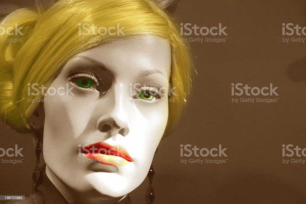 Mannequin with colors in hair eyes lips royalty-free stock photo