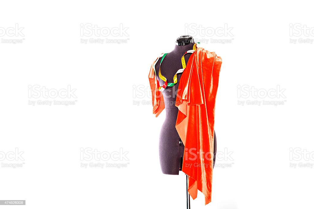 Mannequin with fabric and ribbon stock photo