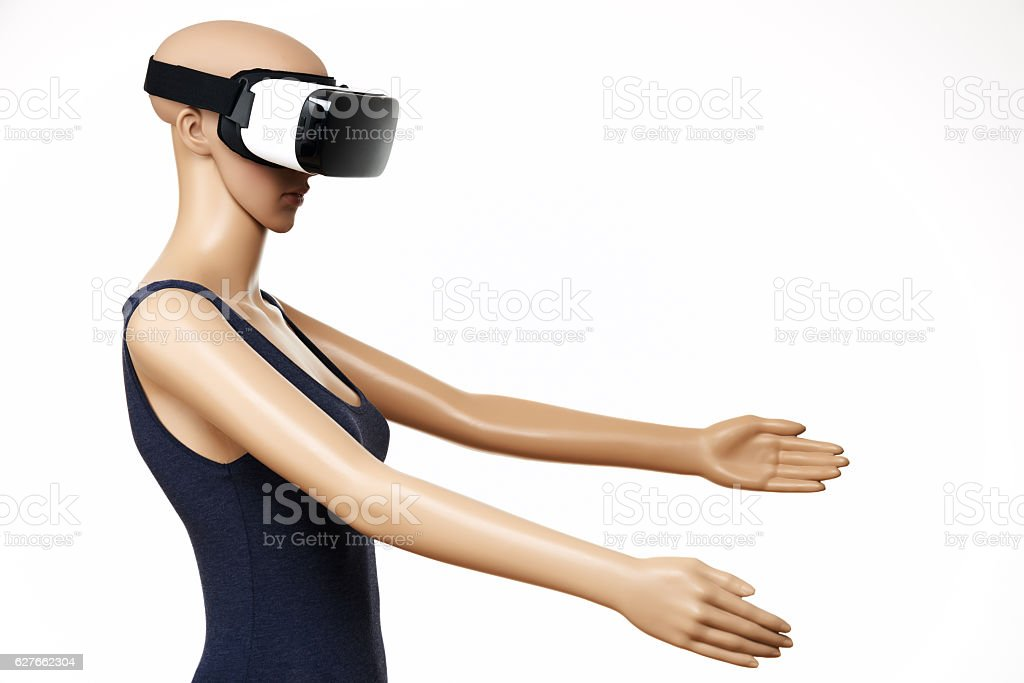AI, Mannequin with virtual reality glasses on white background – Foto