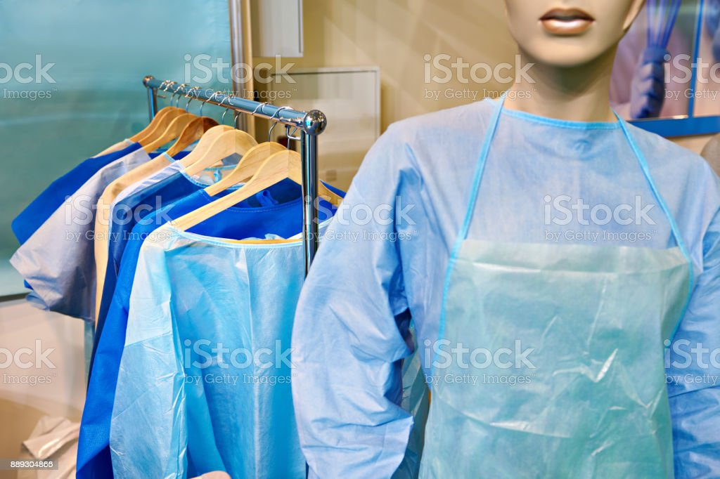 Mannequin woman in surgical gown stock photo