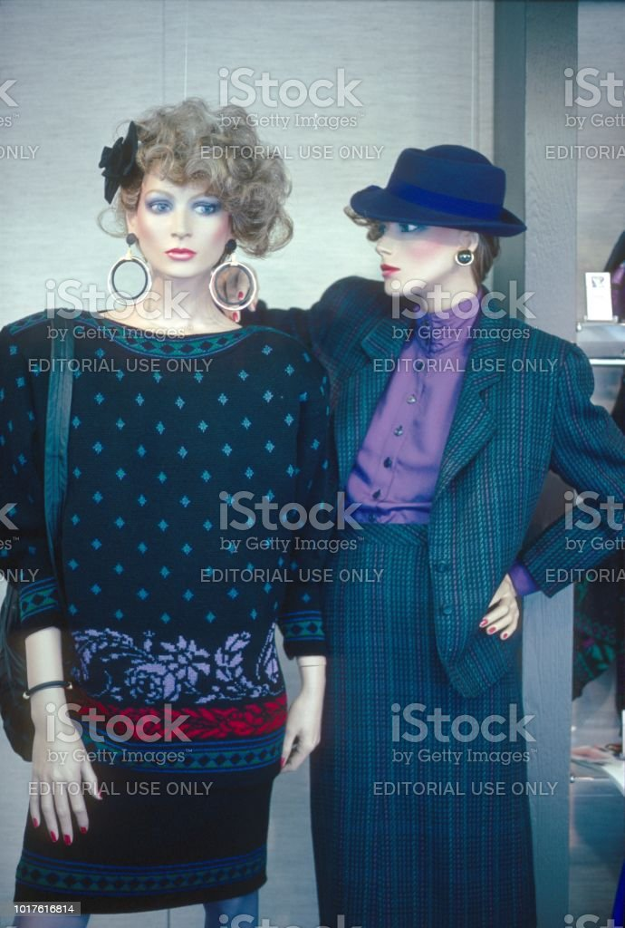 Mannequins in a shop window, 80s stock photo