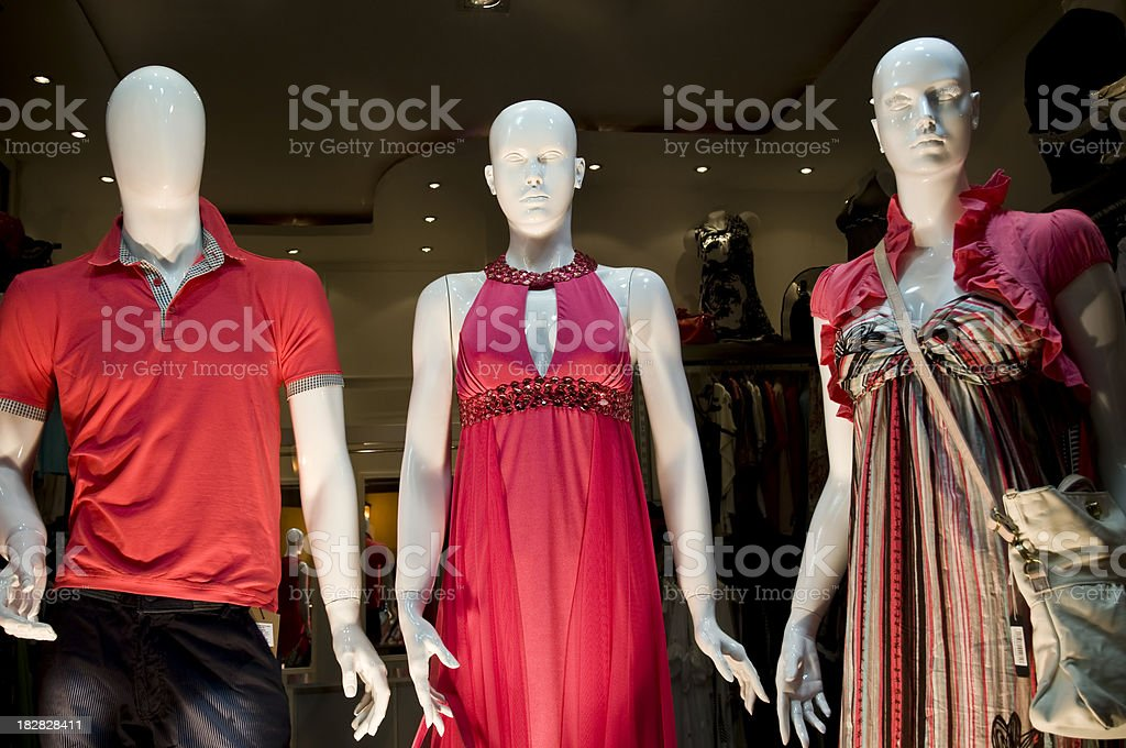 Mannequins in the shop window royalty-free stock photo