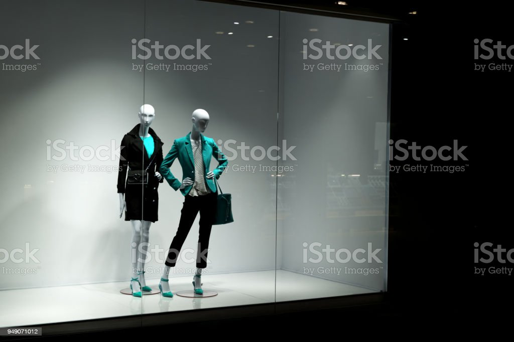 Mannequins look at people stock photo