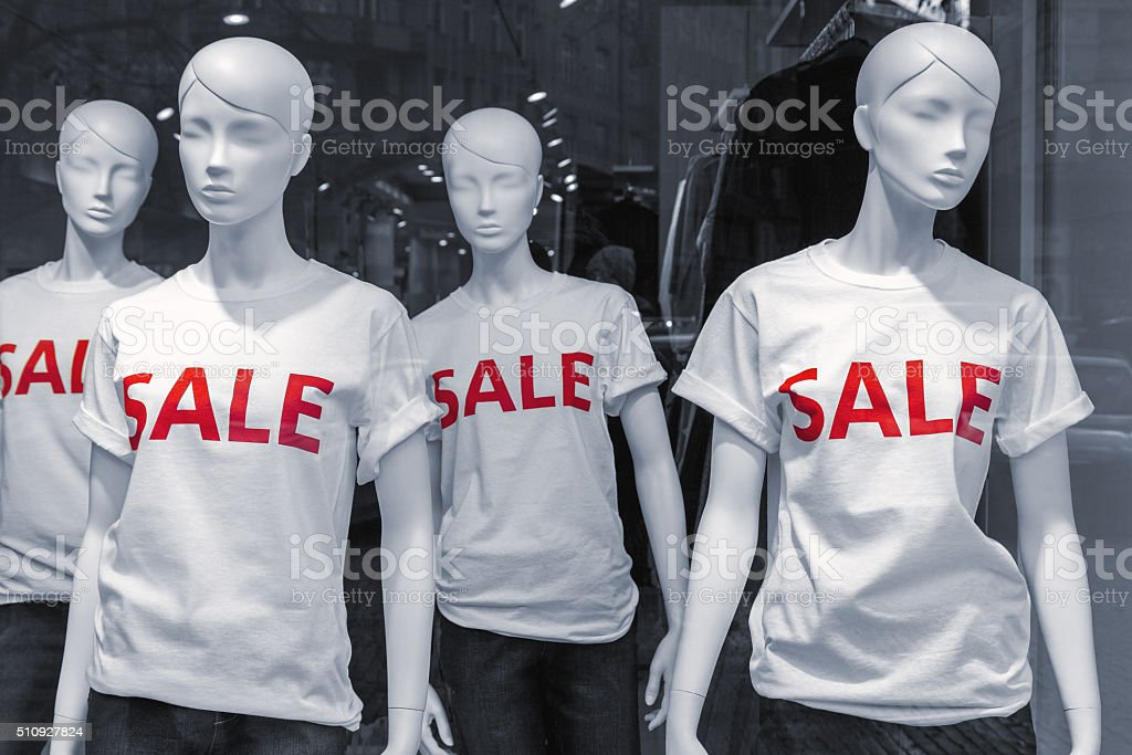 Mannequins Wearing Sale Tshirts Stock Photo More Pictures Of
