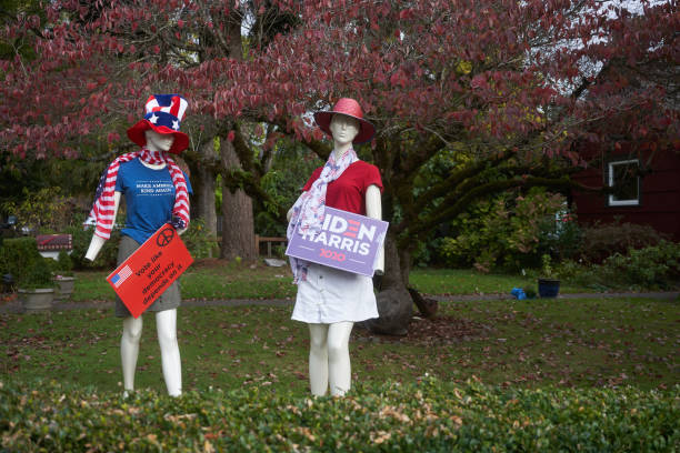 Mannequins with Campaign Signs Lake Oswego, OR, USA - Oct 21, 2020: Mannequins dressed up and holding signs in support of the Democratic candidates are seen on the lawn outside a house in Lake Oswego, Oregon. joe biden stock pictures, royalty-free photos & images