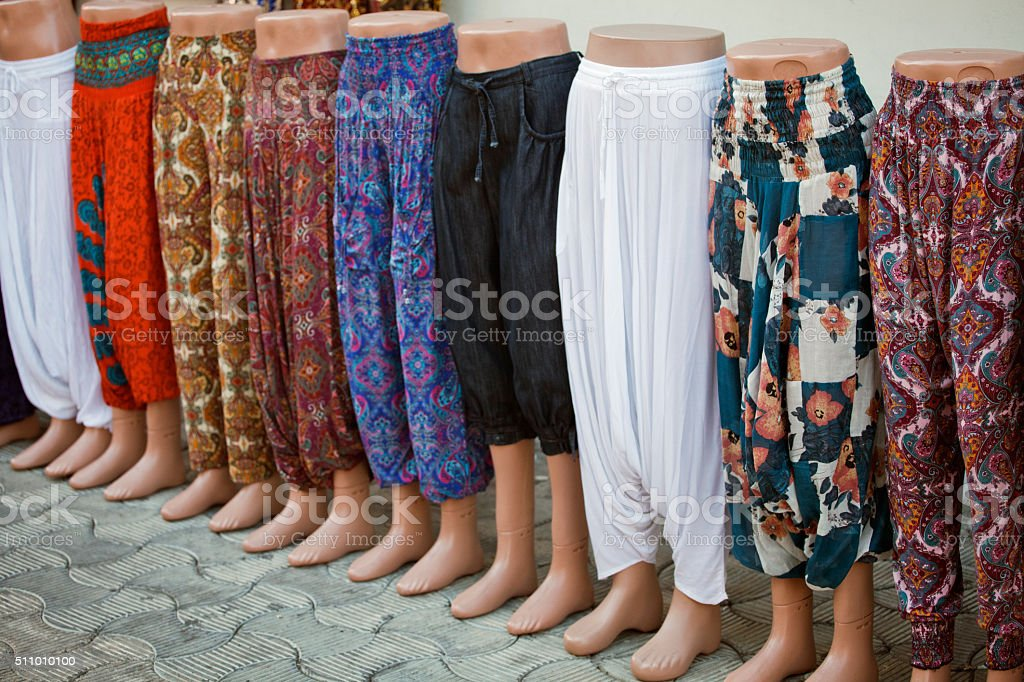 Mannequins with pants stock photo