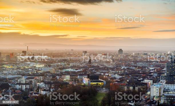 The city of Mannheim Ludwigshafen in Germany at dusk