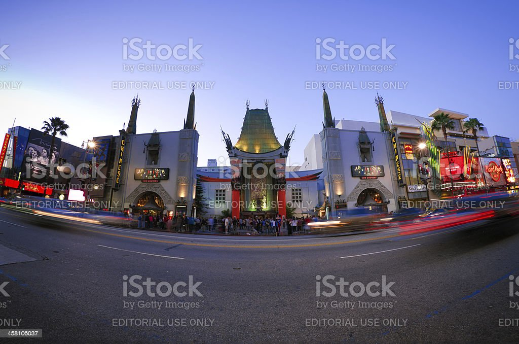 Mann's Chinese Theatre at night in Los Angeles, CA stock photo