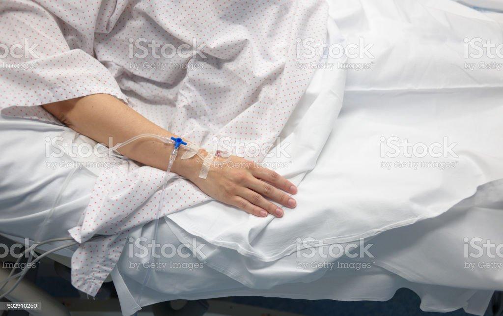Mano Con Suero de el Krankenhaus – Foto