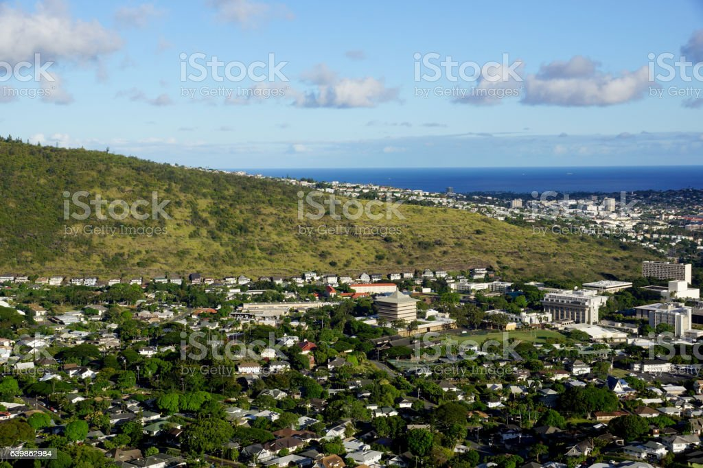 Manoa Valley on the Island of Oahu stock photo
