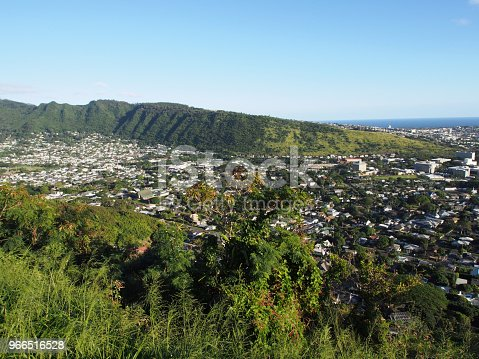 Manoa Valley on the Island of Oahu.  Featuring Mountains, High School, College campus, houses, school and graveyard.