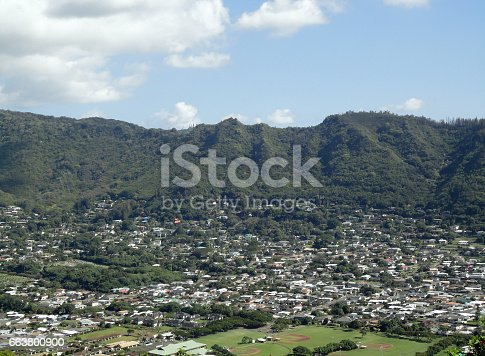Manoa Valley on the Island of Oahu.  Featuring Baseball fields, houses, school and graveyard.
