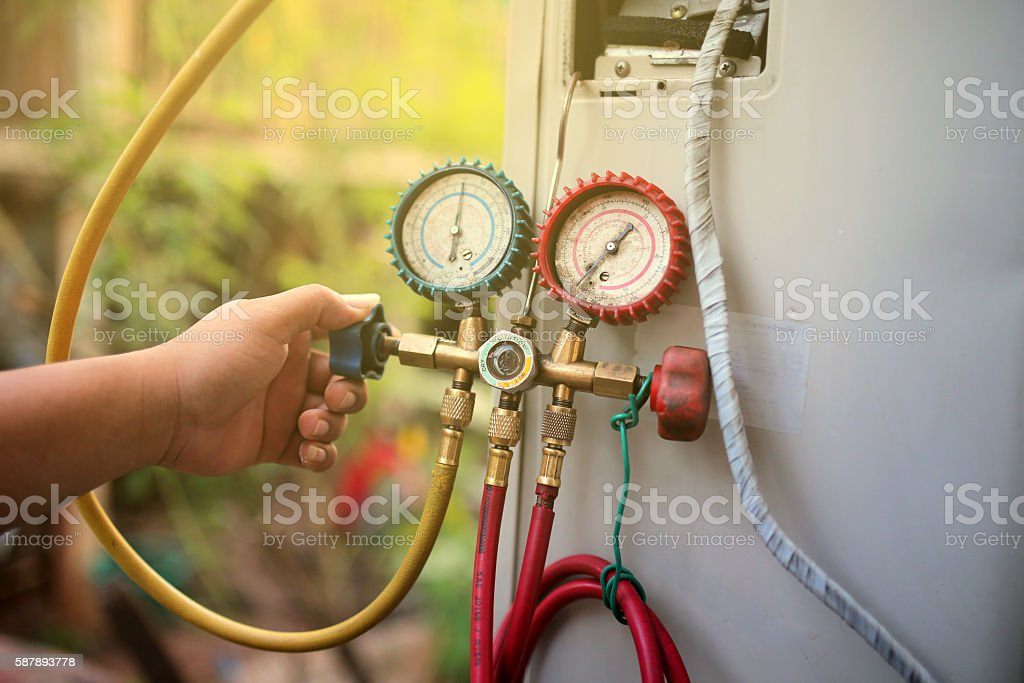 Manometer air cleaners stock photo