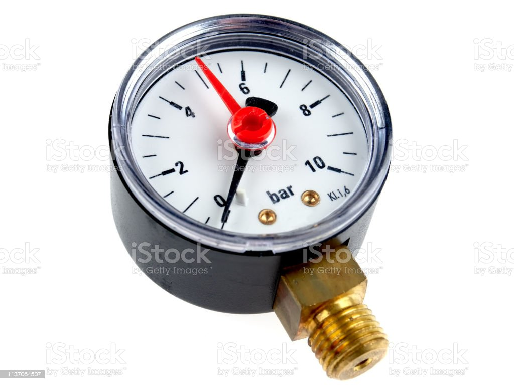 Manometer for water line stock photo