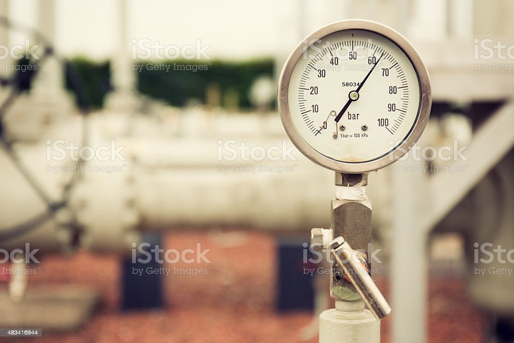 Manometer measuring high pressure natural gas stock photo