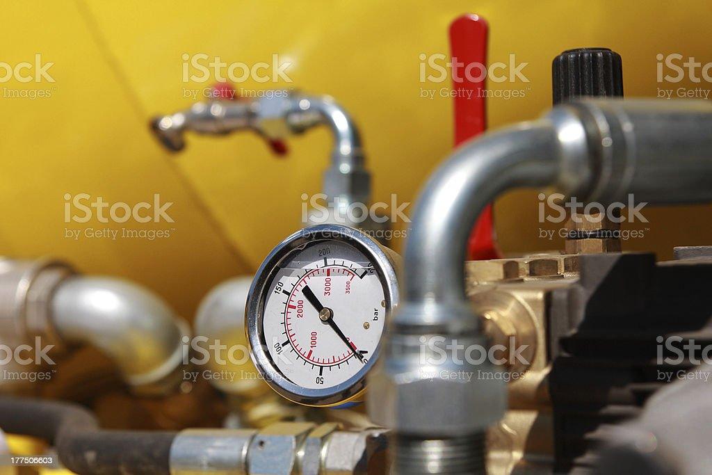 Manometer. Pressure gauge. Closeup view. Barometer Stock Photo