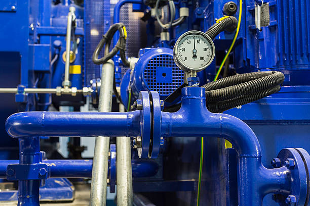 manometer - cogeneration plant stock photos and pictures