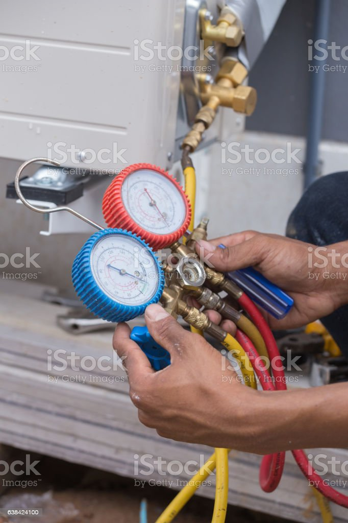 manometers, equipment for filling air conditioners stock photo