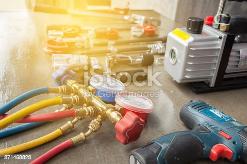istock manometers measuring equipment for filling air conditioners,gauges. 871468828