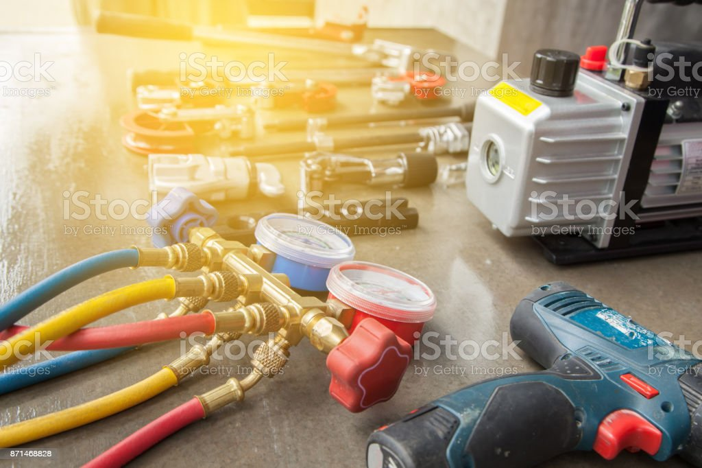 manometers measuring equipment for filling air conditioners,gauges. stock photo