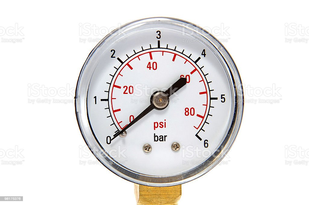 Manometre for pressure measurement on a white background stock photo