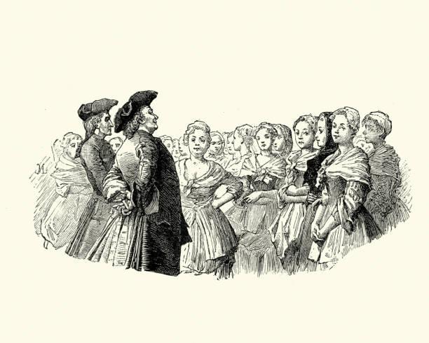 manon lescaut (puccini) man praten met een groep vrouwen 18e eeuw - 18e eeuw stockfoto's en -beelden