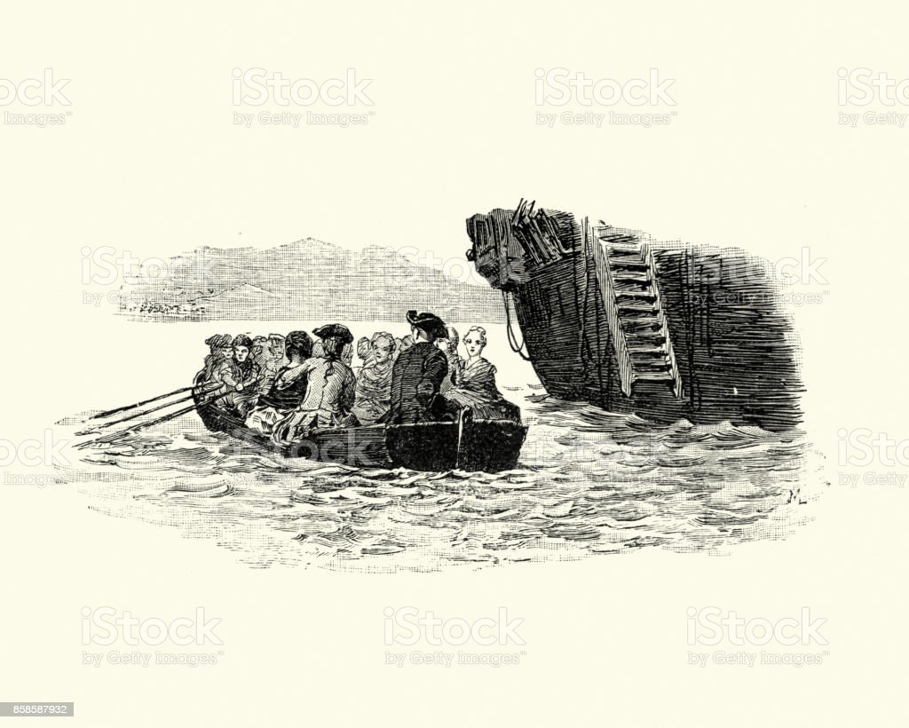 Manon Lescaut - Small boat ferrying passengers to ship stock photo