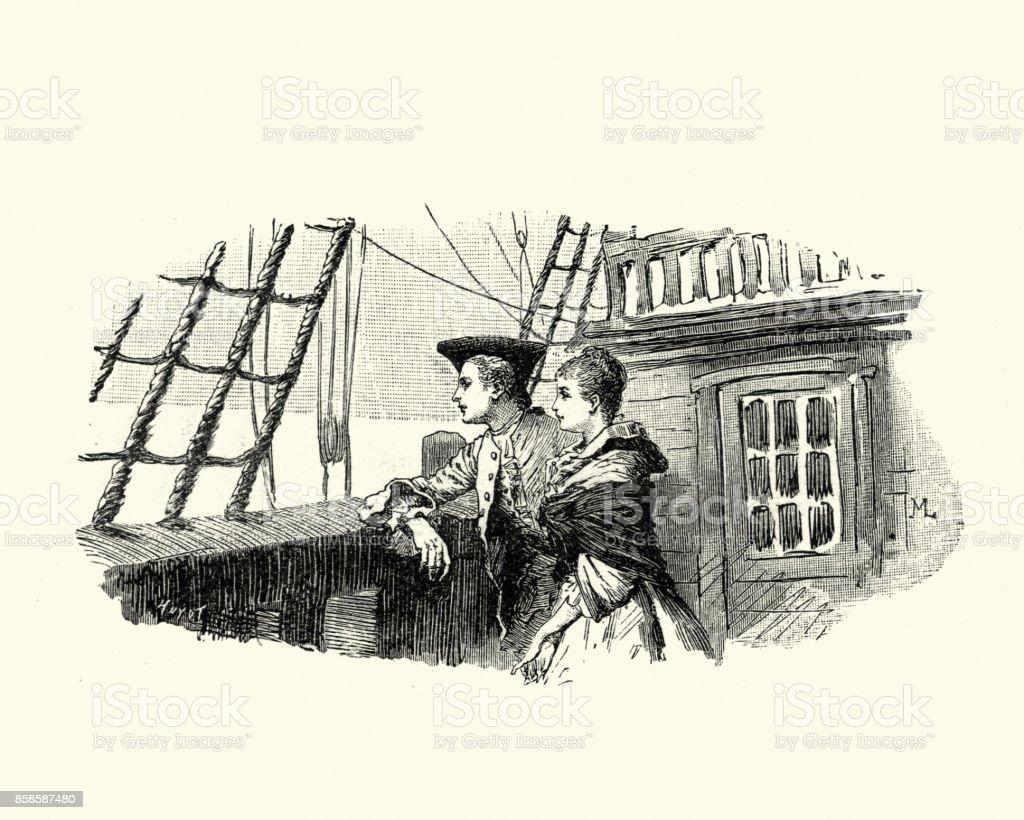 Manon Lescaut - jovem casal no convés de navio do século XVIII - foto de acervo