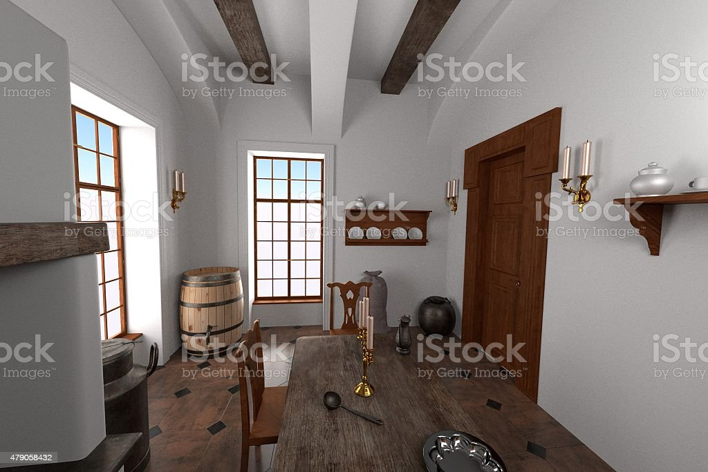 manor interior - kitchen stock photo