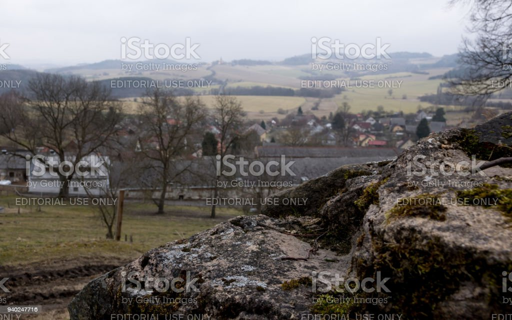 Manor over the stone wall stock photo