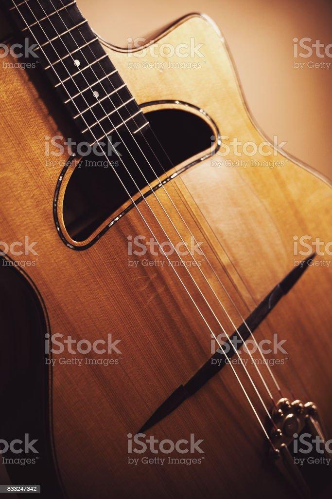 Manouche Guitar Details stock photo