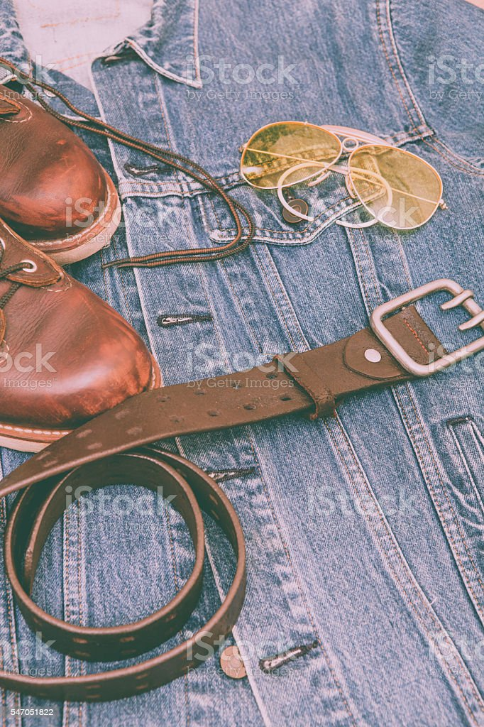 Man\'s collection of clothes in vintage style