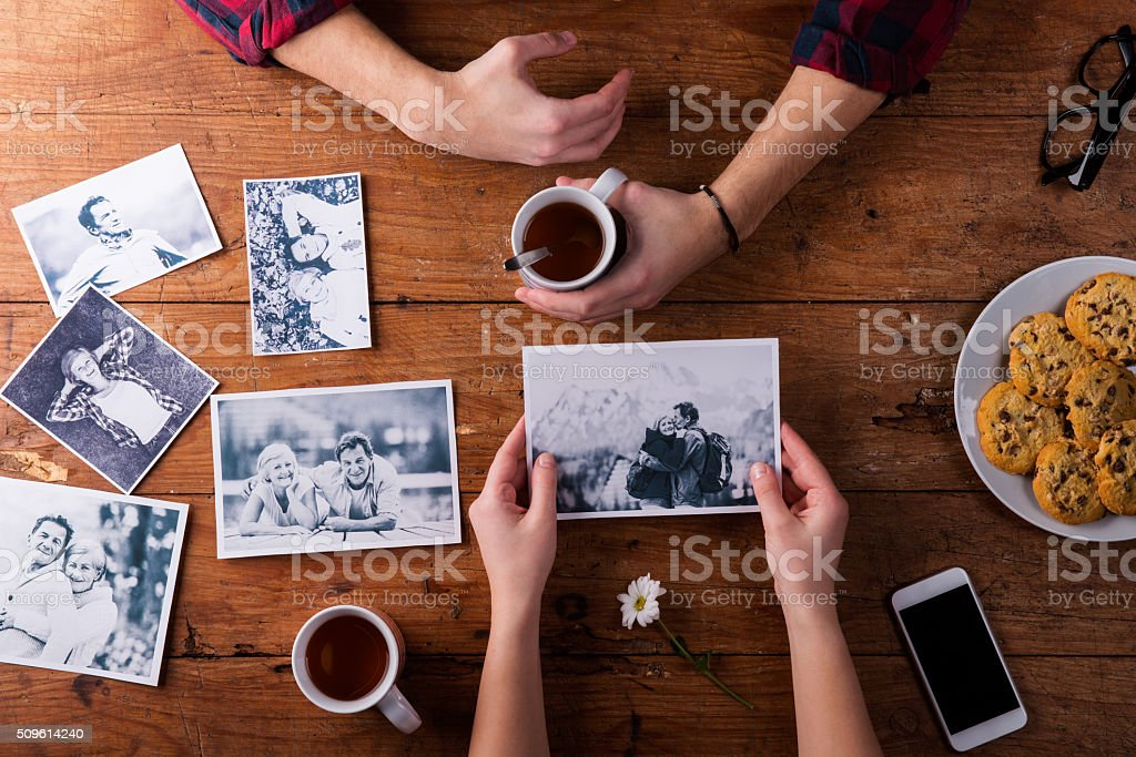 Mans and womans hands. Black-and-white photos. Couple. Tea, cook stock photo