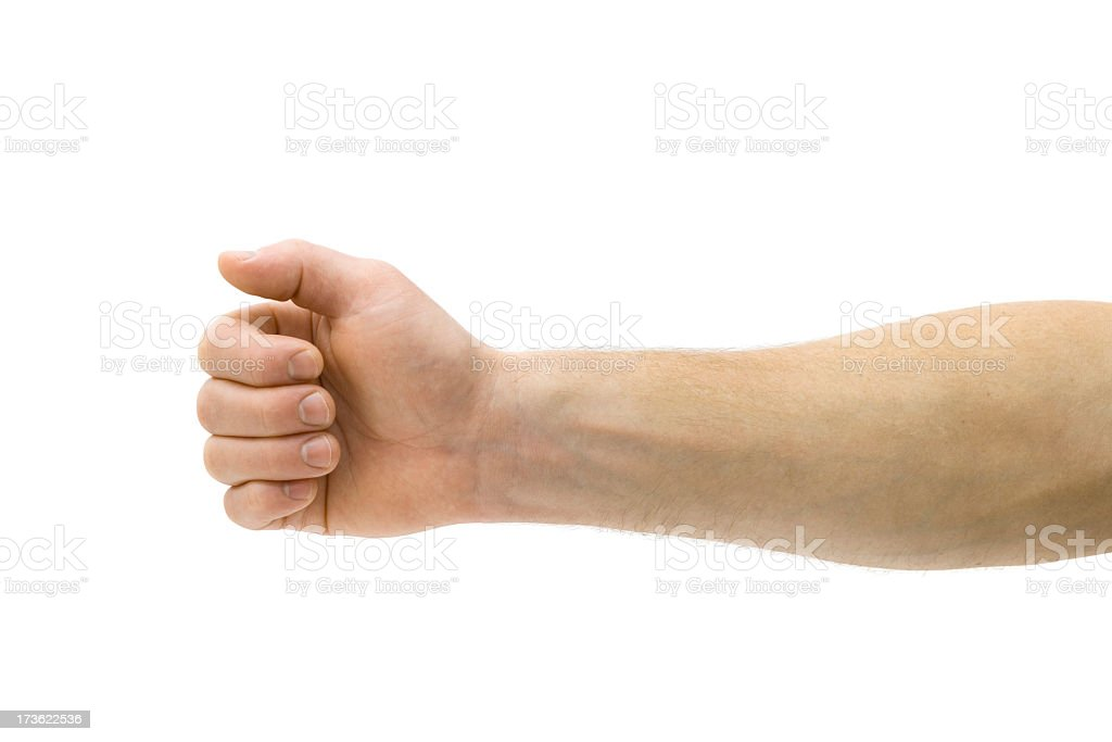 A mans arm on a white background stock photo