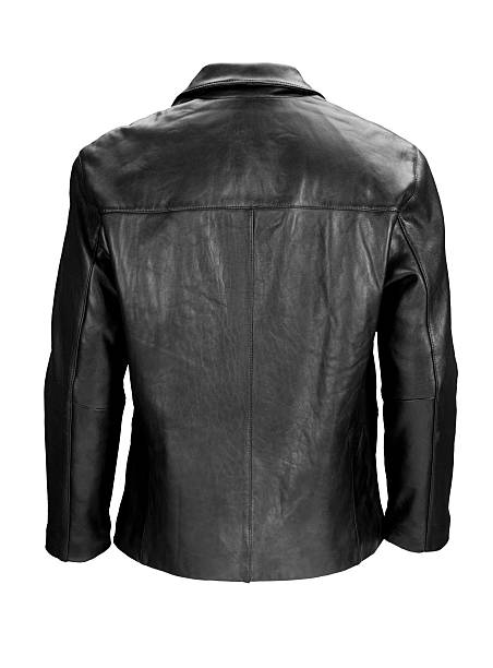 Man's blank black leather jacket back-isolated on white w/clipping path  leather jacket stock pictures, royalty-free photos & images