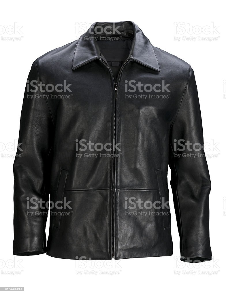 Man's blank black leather jacket front-isolated on white w/clipping path stock photo