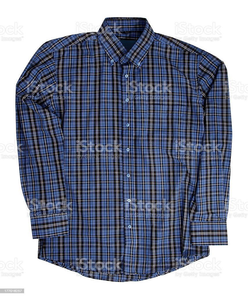 Man's blue cotton plaid shirt stock photo