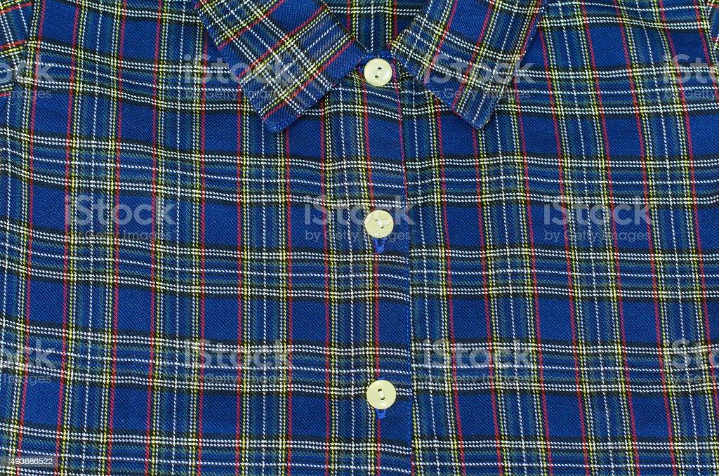 Man's blue cotton plaid shirt - stock photo stock photo