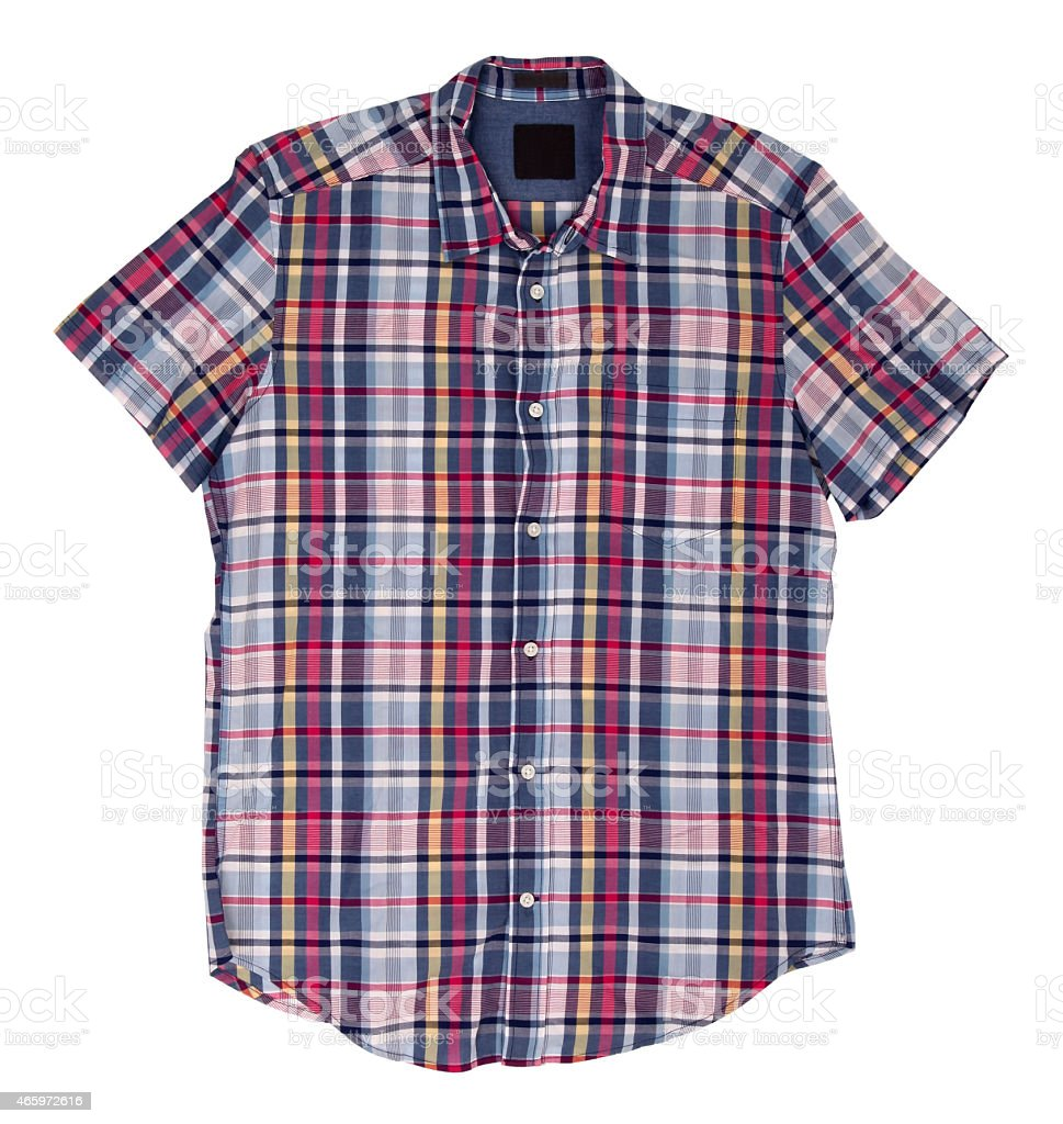 Man's blue red cotton plaid shirt stock photo