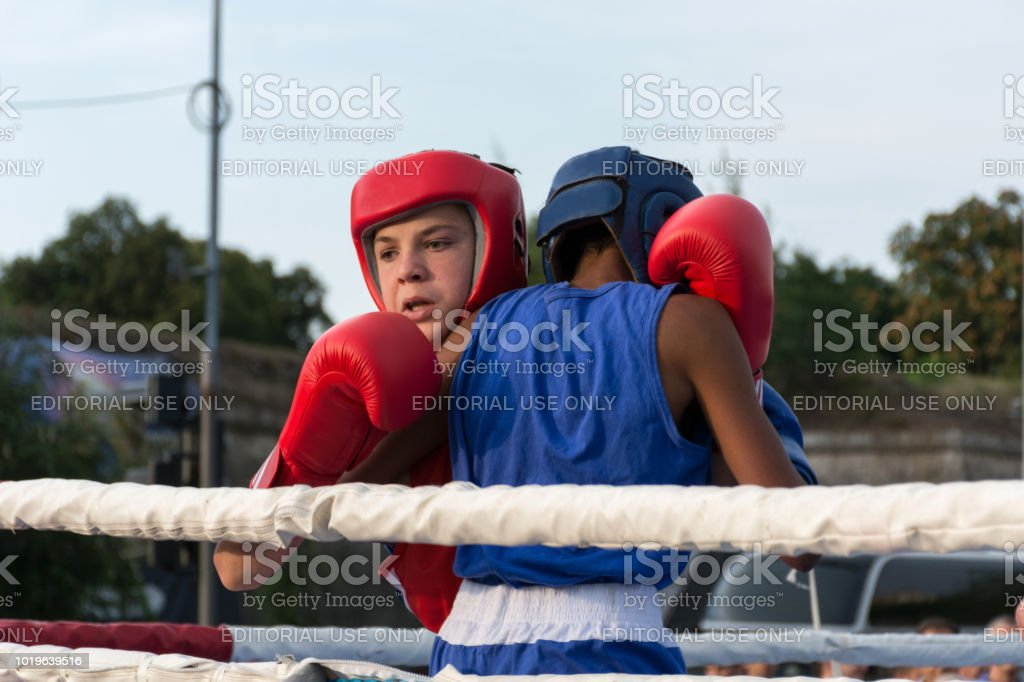 Mans boxing in ring outdoor stock photo
