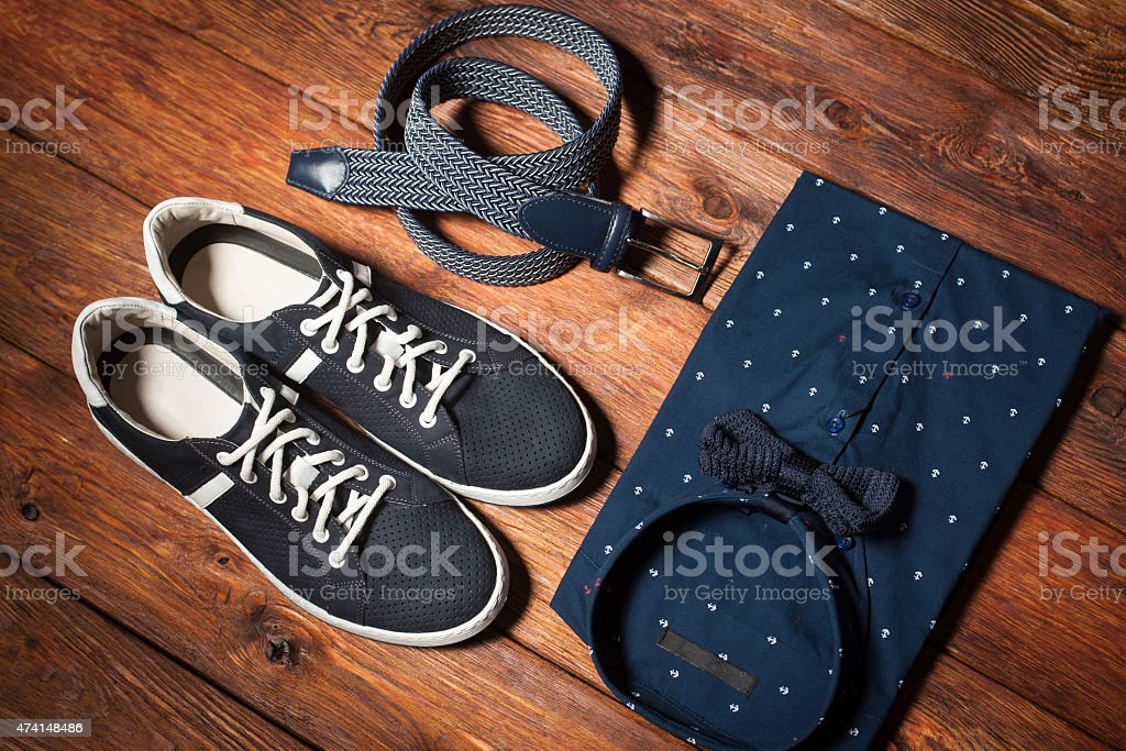 Man's collection of clothes in casual style stock photo