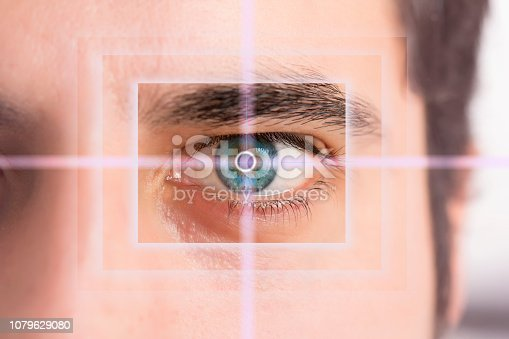 istock Man's eye and technological concept, smart contact lens 1079629080