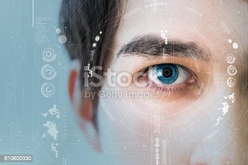 istock man's eye and technological concept, smart contact lens 810600330
