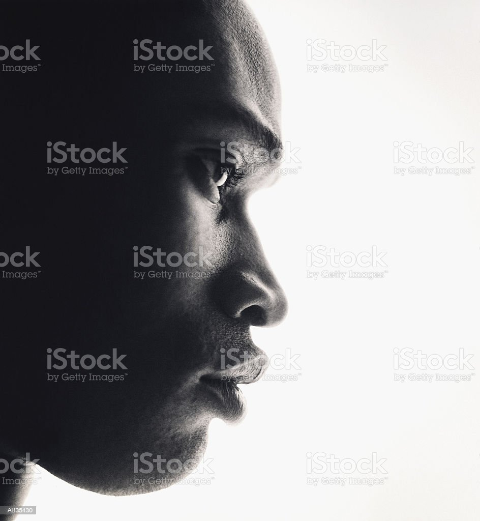 Man's face close-up (B&W) royalty-free stock photo