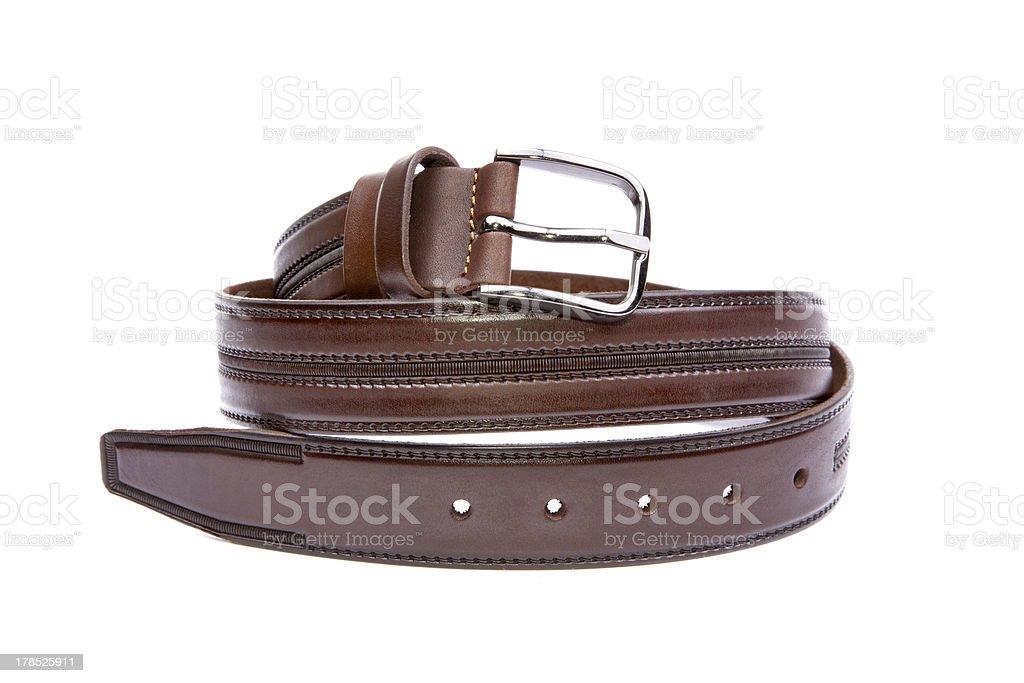 Man's fashion belt isolated on a white background royalty-free stock photo