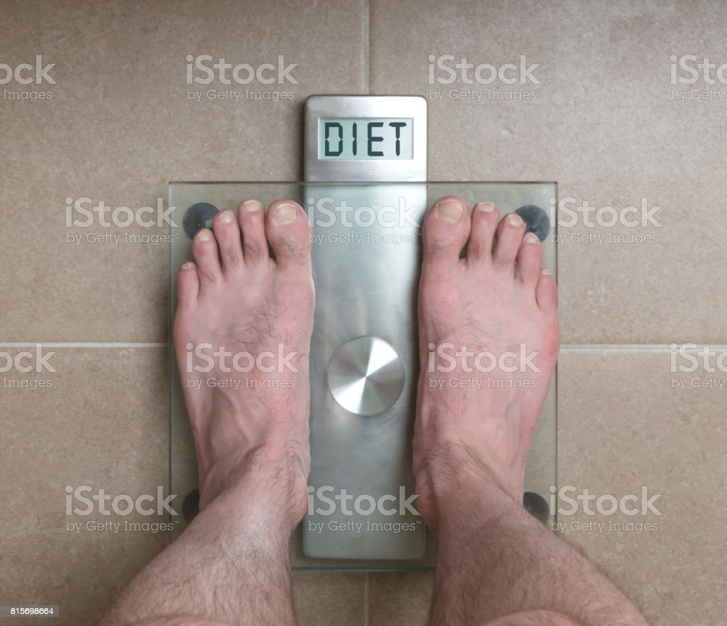 Mans Feet On Weight Scale T Royalty Free Stock P O